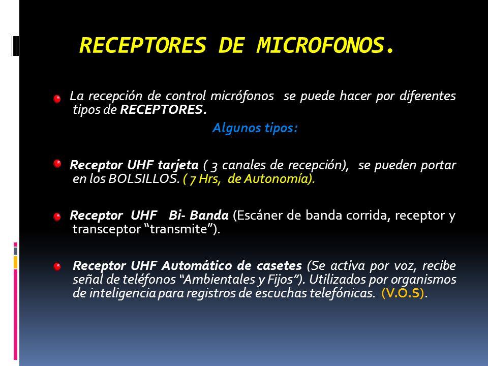 RECEPTORES DE MICROFONOS. La recepción de control micrófonos se puede hacer por diferentes tipos de RECEPTORES. Algunos tipos: Receptor UHF tarjeta (