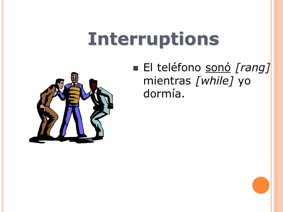 Interruptions El teléfono sonó [rang] mientras [while] yo dormía.