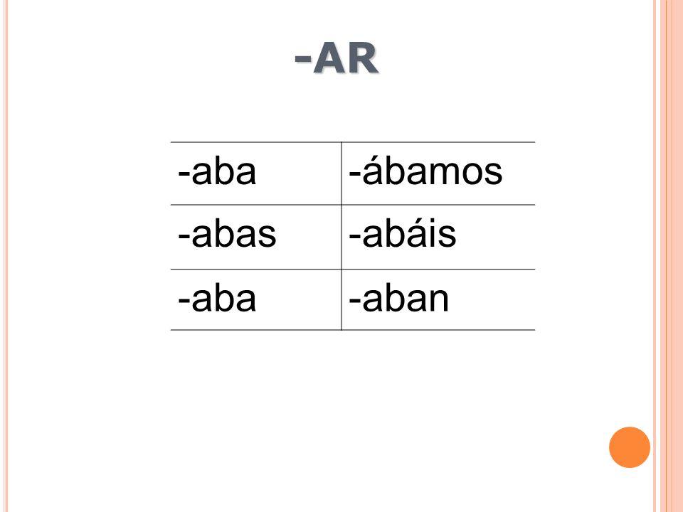 -aba-ábamos -abas-abáis -aba-aban -AR