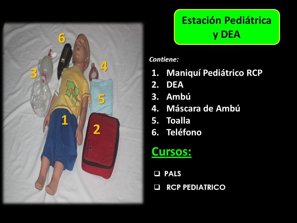 Estación Adulto Estación Pediátrica y DEA PALS RCP PEDIATRICO Cursos: 1.Maniquí Pediátrico RCP 2.DEA 3.Ambú 4.Máscara de Ambú 5.Toalla 6.Teléfono Contiene: 1 3 6 5 4 2 1 4 3 5 2 6