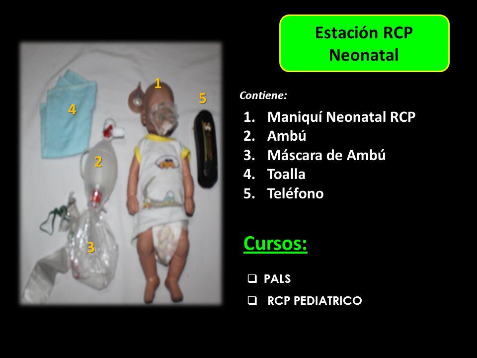 Estación Adulto Estación RCP Neonatal PALS RCP PEDIATRICO Cursos: 1.Maniquí Neonatal RCP 2.Ambú 3.Máscara de Ambú 4.Toalla 5.Teléfono Contiene: 1 3 6 5 4 2 1 4 3 5 2 6 1 2 3 4 5