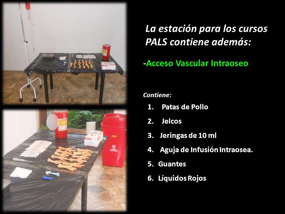 La estación para los cursos PALS contiene además: -Acceso Vascular Intraoseo Contiene: 1.