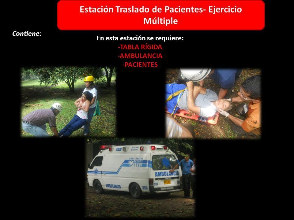 Estación Adulto Contiene: 1 3 6 5 4 2 Estación Traslado de Pacientes- Ejercicio Múltiple En esta estación se requiere: -TABLA RÍGIDA -AMBULANCIA -PACIENTES
