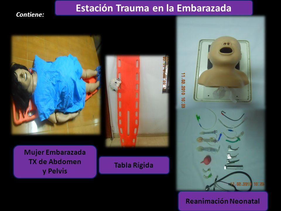 Estación Adulto Contiene: 1 3 6 5 4 2 Estación Trauma en la Embarazada Mujer Embarazada TX de Abdomen y Pelvis Tabla Rígida Reanimación Neonatal