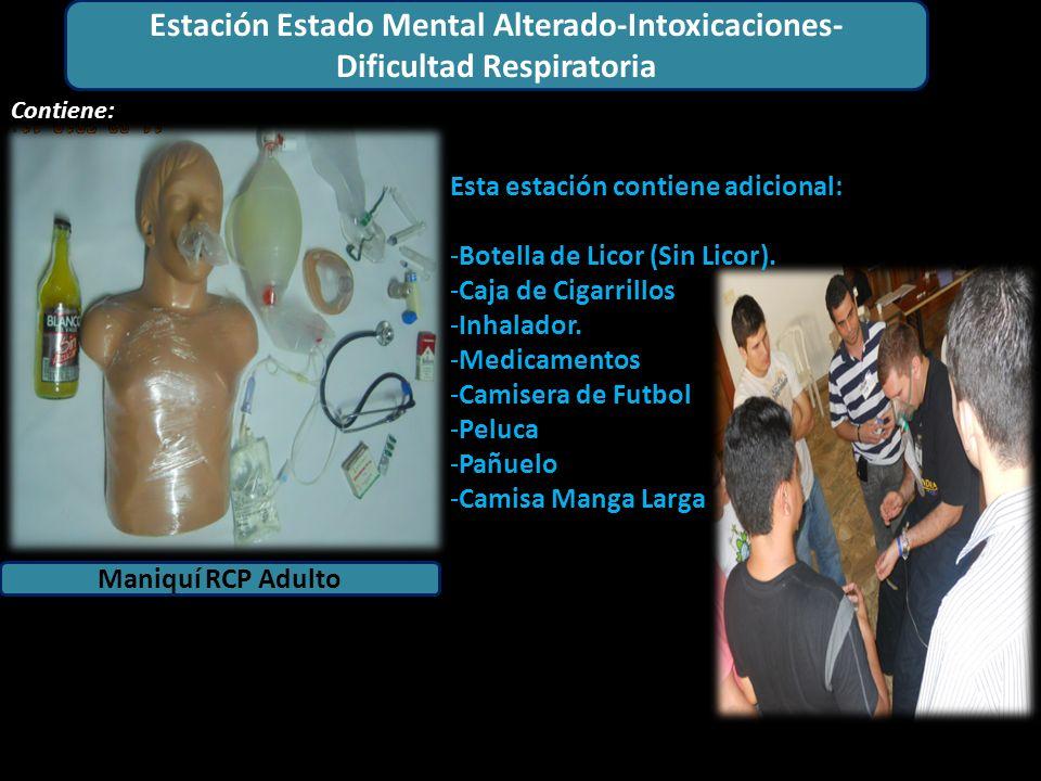Estación Adulto Maniquí RCP Adulto Contiene: 1 6 4 2 1 5 2 Estación Estado Mental Alterado-Intoxicaciones- Dificultad Respiratoria Esta estación contiene adicional: -Botella de Licor (Sin Licor).