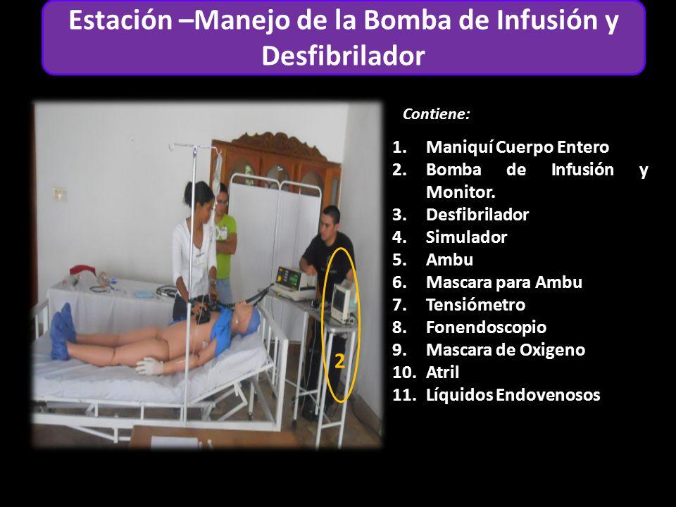 Estación Adulto Contiene: 1 6 4 2 Estación –Manejo de la Bomba de Infusión y Desfibrilador 1.Maniquí Cuerpo Entero 2.Bomba de Infusión y Monitor.