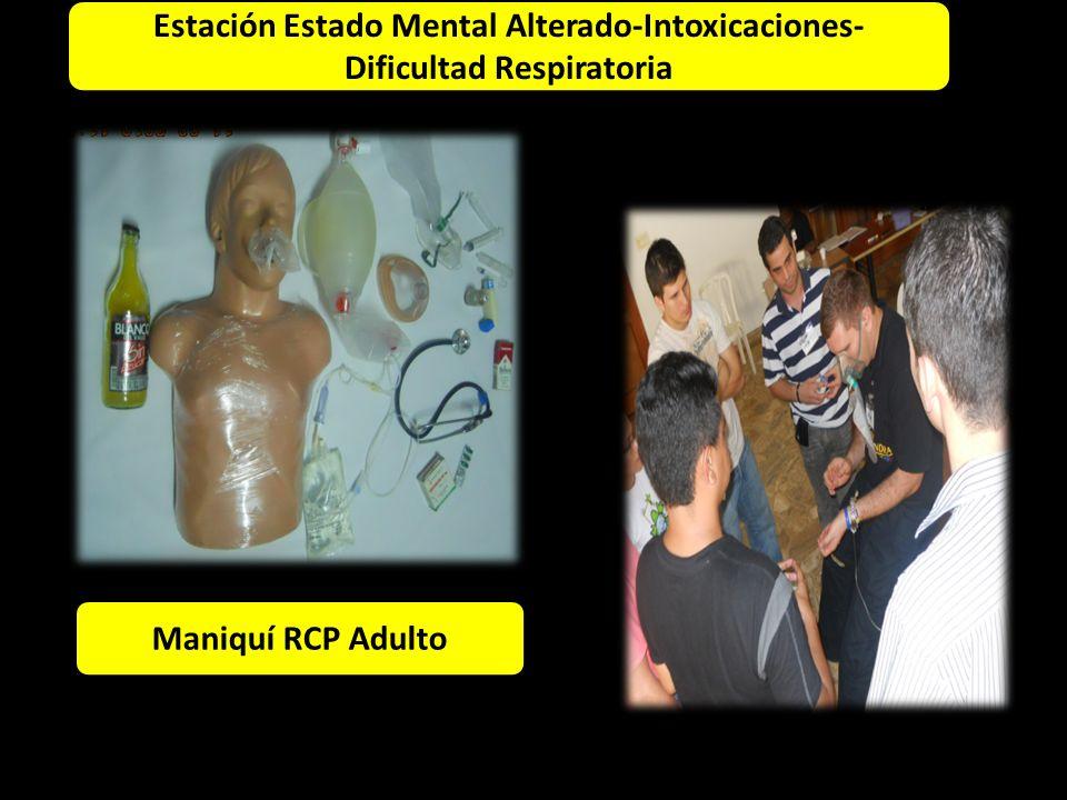 Estación Adulto Maniquí RCP Adulto 1 6 4 2 1 5 2 Estación Estado Mental Alterado-Intoxicaciones- Dificultad Respiratoria