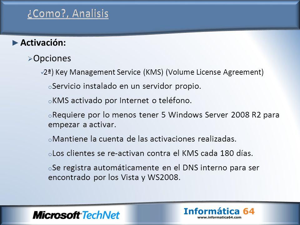 Activación: Opciones 2ª) Key Management Service (KMS) (Volume License Agreement) o Servicio instalado en un servidor propio. o KMS activado por Intern