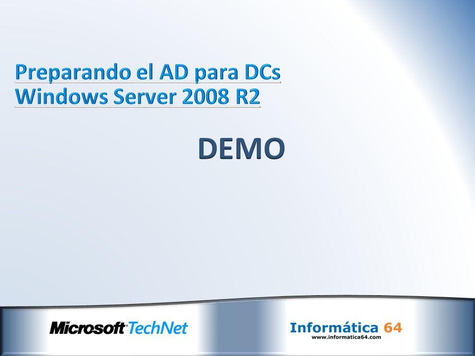 Preparando el AD para DCs Windows Server 2008 R2