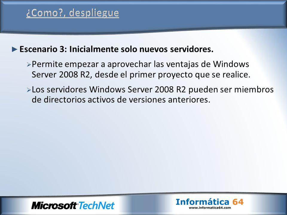 Escenario 3: Inicialmente solo nuevos servidores.