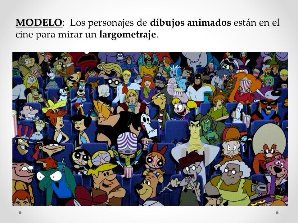 MODELO MODELO: Los personajes de dibujos animados están en el cine para mirar un largometraje.