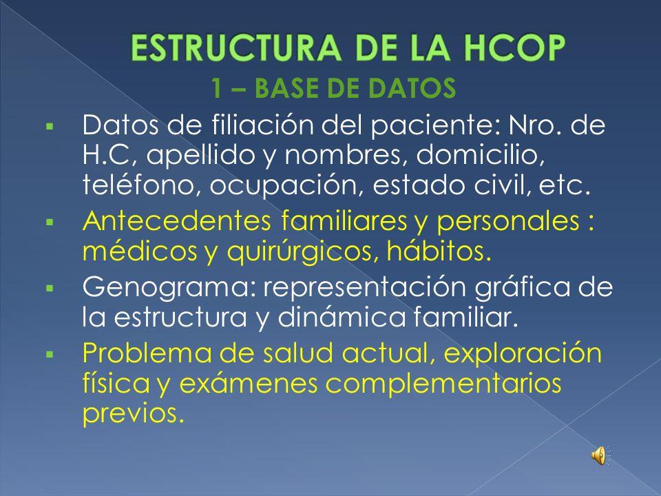 TIPO DE PROBLEMA EJEMPLOS: DIAGNOSTICO O ENFERMEDAD TUBERCULOSIS, DIABETES DEFICIENCIA, INCAPACIDAD O MINUSVALIA HEMIPLEJIA, HIPOVITAMINOSIS D SINTOMA DOLOR ABDOMINAL, TOS SIGNO SOPLO CARDIACO, EDEMA EXAMEN COMPLEMENTARIO ANORMAL GLUCEMIA ELEVADA ALERGIA/EFECTO ADVERSO MEDICAMENTOS ALERGIA A LA PENICILINA SINDROME SINDROME NEFROTICO INTERVENCION QUIRURGICA APENDICECTOMIA EFECTO DE UN TRAUMATISMO HEMATOMA, FRACTURA FACTOR DE RIESGO TABAQUISMO, CA.COLON PADRE TRASTORNO PSICOLOGICO/FAMILIAR DEPRESION, CRISIS FAMILIAR ESTRUCTURAL ALTERACION FAMILIAR, SOCIAL O LABORAL NIÑO RECIEN NACIDO, DESOCUPACION SITUACION NO PATOLOGICA QUE PUEDE CONTROL DE SALUD, EMBARAZO, DETERMINAR UN A ACCION ANTICONCEPCION NO ES PROBLEMA: UN TERMINO VAGO O NO CONCRETO PROCESO RESPIRATORIO ALGO A DESCARTAR DESCARTAR HIPOTIROIDISMO UNA SOSPECHA O DIAGNOSTICO PROBABLE PROBABLE HEPATITIS