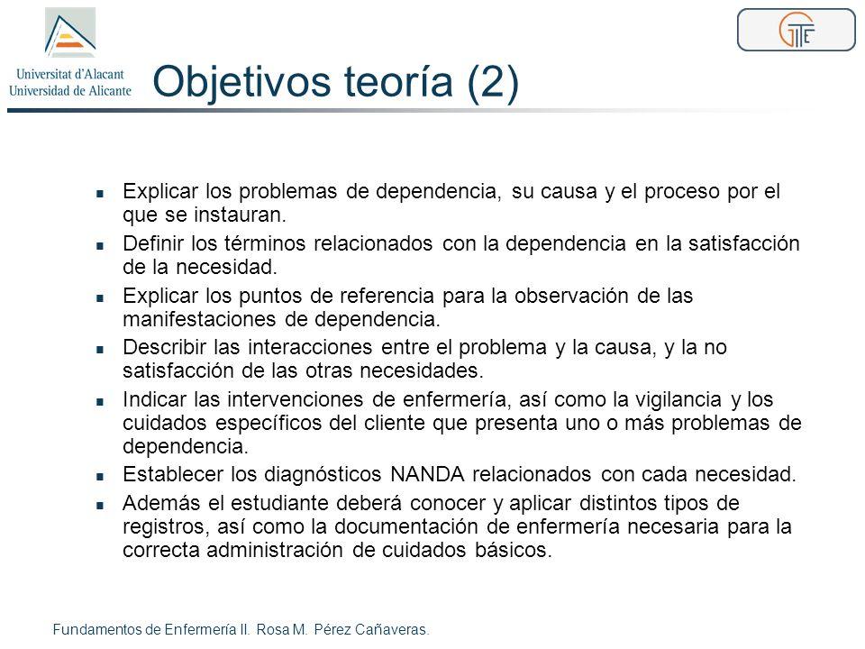 Objetivos teoría (2) Explicar los problemas de dependencia, su causa y el proceso por el que se instauran. Definir los términos relacionados con la de