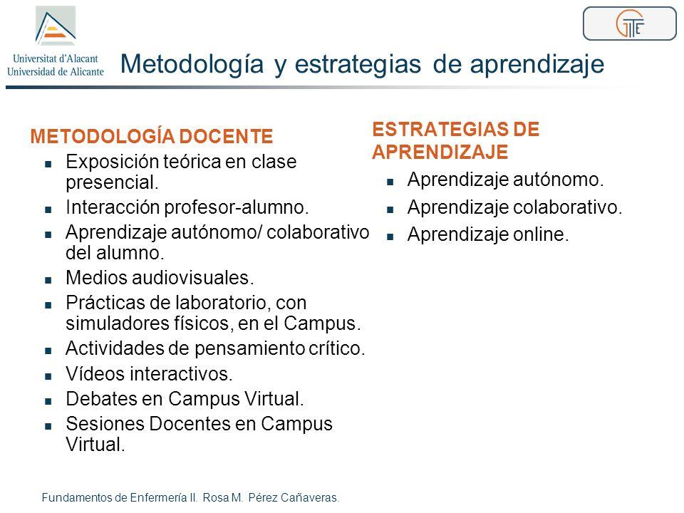 Metodología y estrategias de aprendizaje METODOLOGÍA DOCENTE Exposición teórica en clase presencial. Interacción profesor-alumno. Aprendizaje autónomo