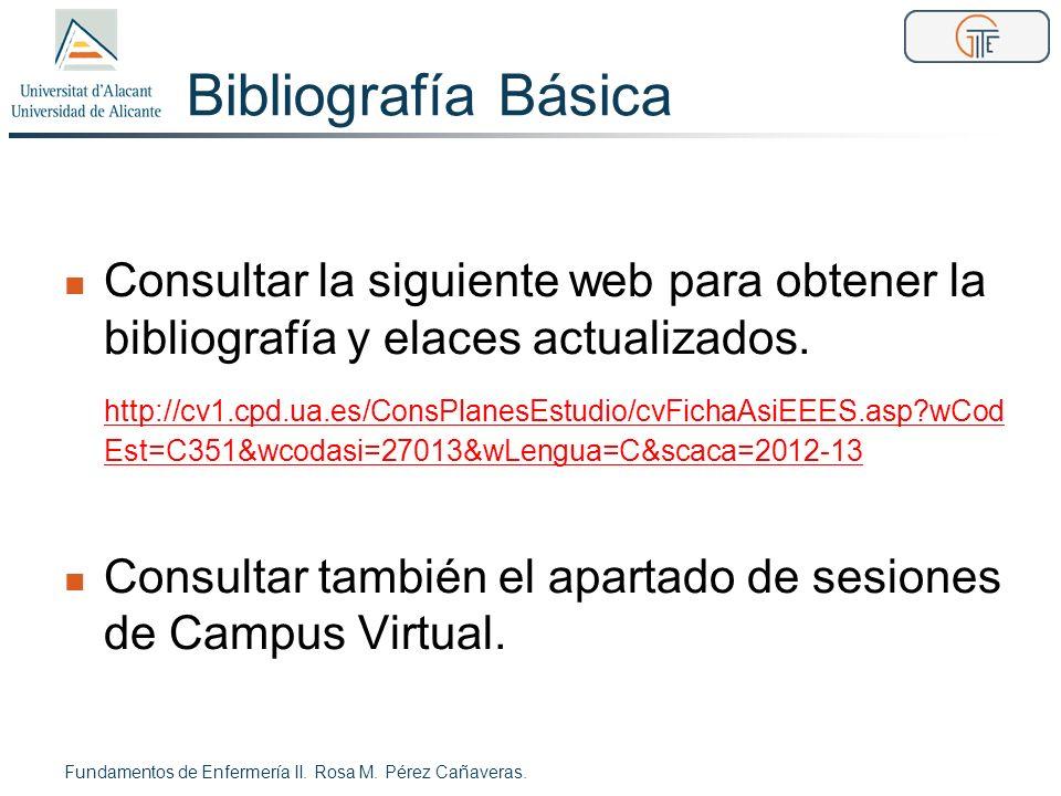 Bibliografía Básica Consultar la siguiente web para obtener la bibliografía y elaces actualizados. http://cv1.cpd.ua.es/ConsPlanesEstudio/cvFichaAsiEE