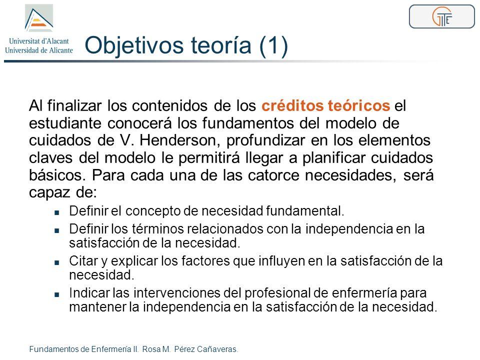 Objetivos teoría (1) Al finalizar los contenidos de los créditos teóricos el estudiante conocerá los fundamentos del modelo de cuidados de V. Henderso