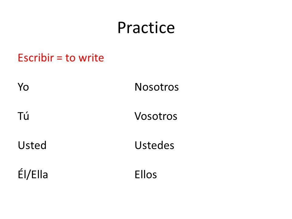 Practice Escribir = to write YoNosotros TúVosotros UstedUstedes Él/Ella Ellos
