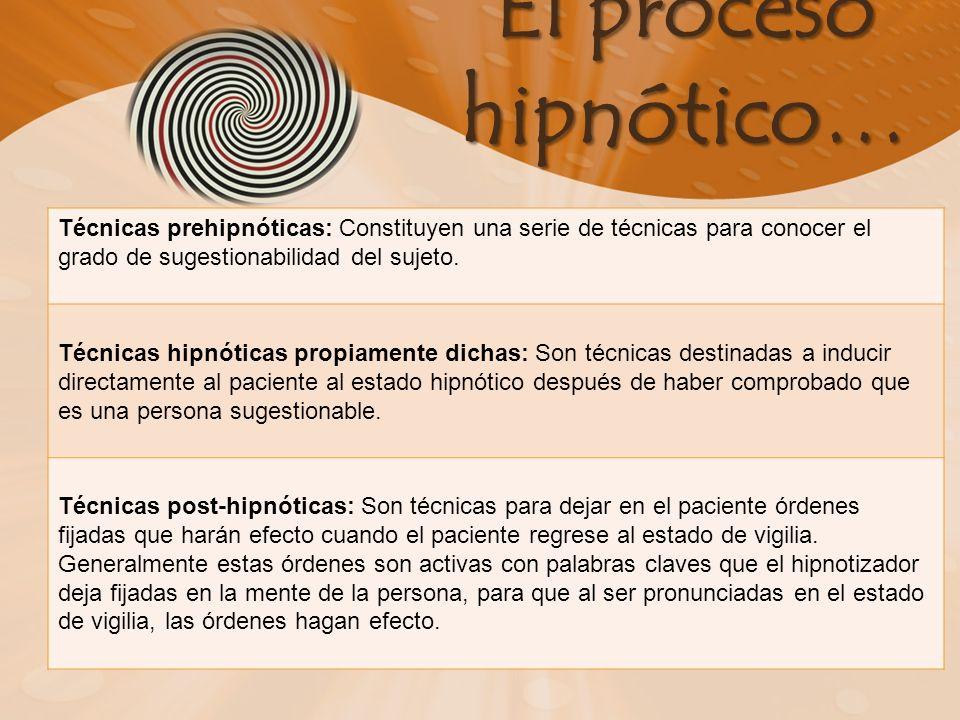 El proceso hipnótico… Técnicas prehipnóticas: Constituyen una serie de técnicas para conocer el grado de sugestionabilidad del sujeto. Técnicas hipnót