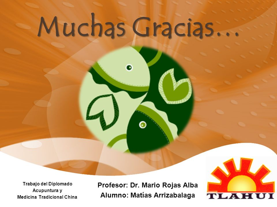 Muchas Gracias… Trabajo del Diplomado Acupuntura y Medicina Tradicional China Profesor: Dr. Mario Rojas Alba Alumno: Matías Arrizabalaga