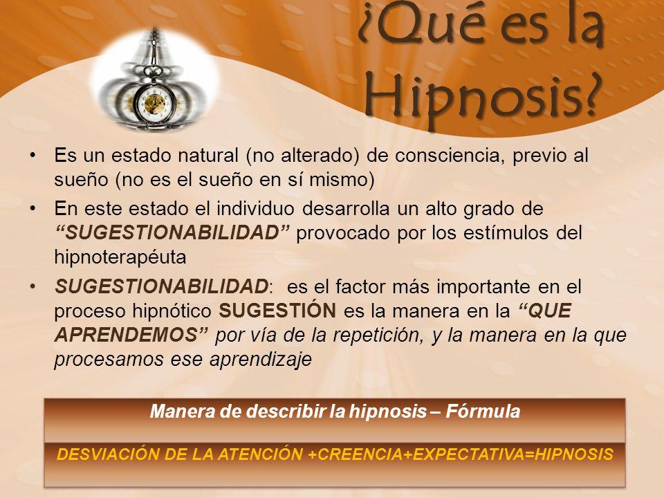 ¿ Qué es la Hipnosis? Es un estado natural (no alterado) de consciencia, previo al sueño (no es el sueño en sí mismo) En este estado el individuo desa