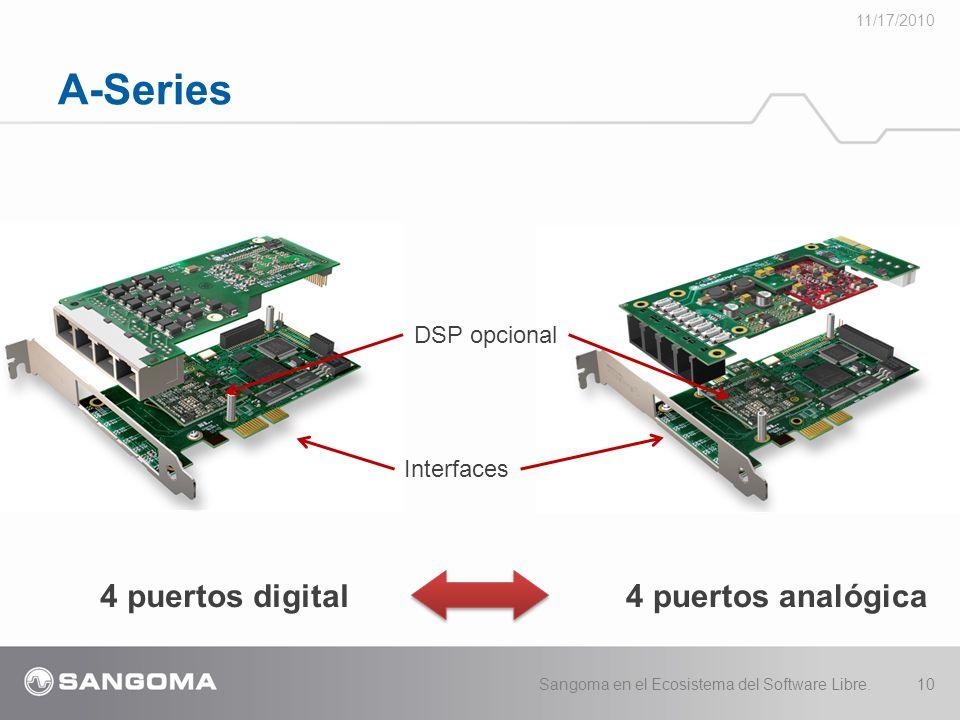 A-Series 11/17/2010 Sangoma en el Ecosistema del Software Libre.10 4 puertos digital4 puertos analógica Interfaces DSP opcional
