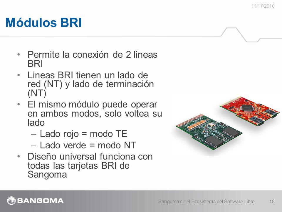 Módulos BRI 11/17/2010 Sangoma en el Ecosistema del Software Libre.18 Permite la conexión de 2 lineas BRI Lineas BRI tienen un lado de red (NT) y lado de terminación (NT) El mismo módulo puede operar en ambos modos, solo voltea su lado –Lado rojo = modo TE –Lado verde = modo NT Diseño universal funciona con todas las tarjetas BRI de Sangoma