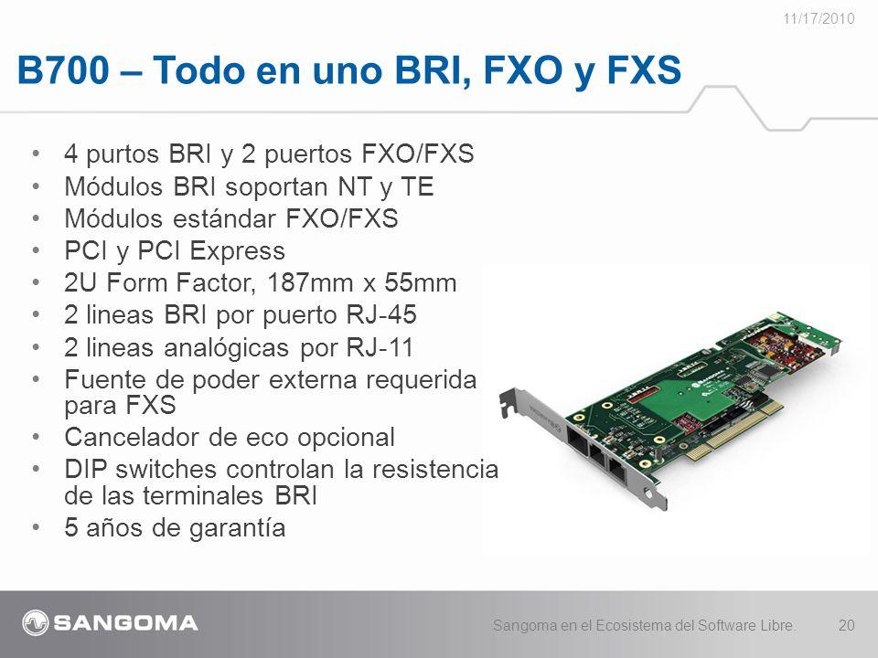 B700 – Todo en uno BRI, FXO y FXS 11/17/2010 Sangoma en el Ecosistema del Software Libre.20 4 purtos BRI y 2 puertos FXO/FXS Módulos BRI soportan NT y TE Módulos estándar FXO/FXS PCI y PCI Express 2U Form Factor, 187mm x 55mm 2 lineas BRI por puerto RJ-45 2 lineas analógicas por RJ-11 Fuente de poder externa requerida para FXS Cancelador de eco opcional DIP switches controlan la resistencia de las terminales BRI 5 años de garantía