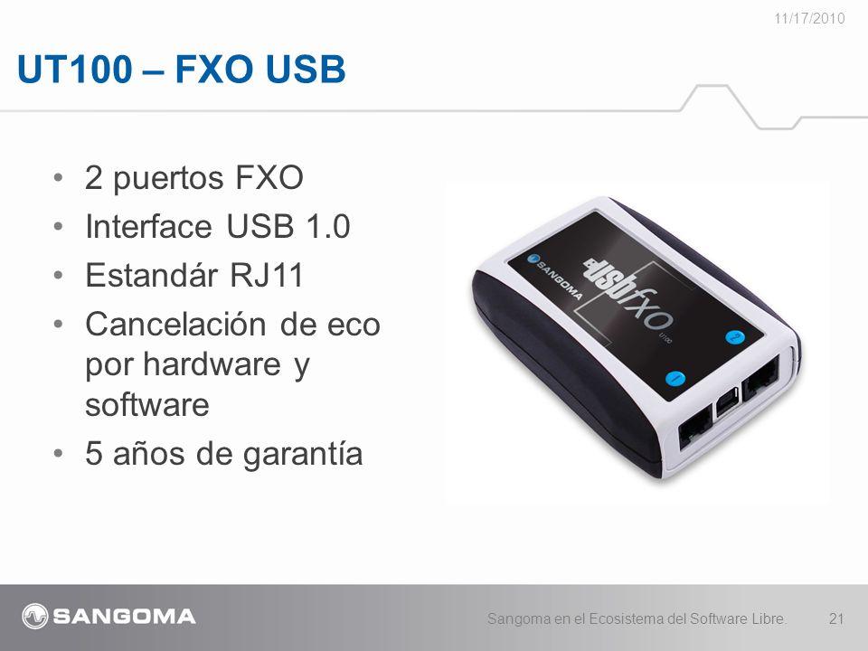 UT100 – FXO USB 11/17/2010 Sangoma en el Ecosistema del Software Libre.21 2 puertos FXO Interface USB 1.0 Estandár RJ11 Cancelación de eco por hardware y software 5 años de garantía