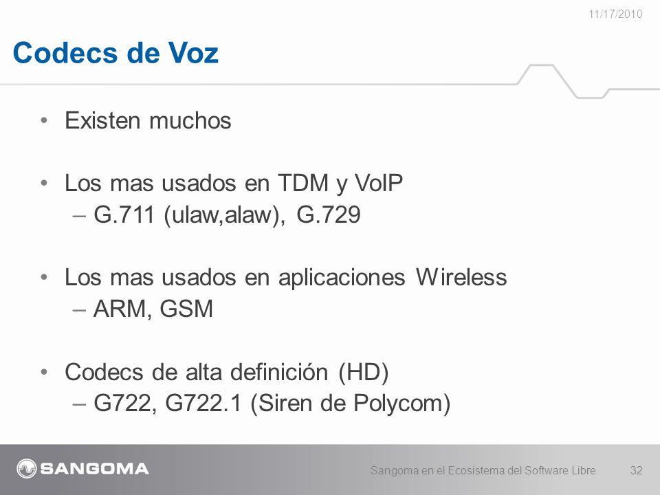 Codecs de Voz 11/17/2010 Sangoma en el Ecosistema del Software Libre.32 Existen muchos Los mas usados en TDM y VoIP –G.711 (ulaw,alaw), G.729 Los mas usados en aplicaciones Wireless –ARM, GSM Codecs de alta definición (HD) –G722, G722.1 (Siren de Polycom)