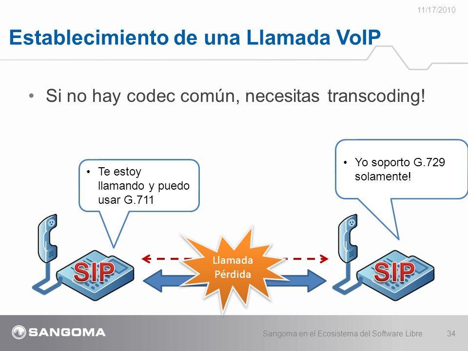 Establecimiento de una Llamada VoIP 11/17/2010 Sangoma en el Ecosistema del Software Libre.34 Si no hay codec común, necesitas transcoding.