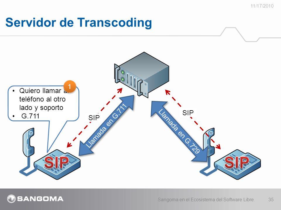 Servidor de Transcoding 11/17/2010 Sangoma en el Ecosistema del Software Libre.35 Llamada en G.711 Quiero llamar al teléfono al otro lado y soporto G.711 SIP Llamada en G.729 1 1 SIP