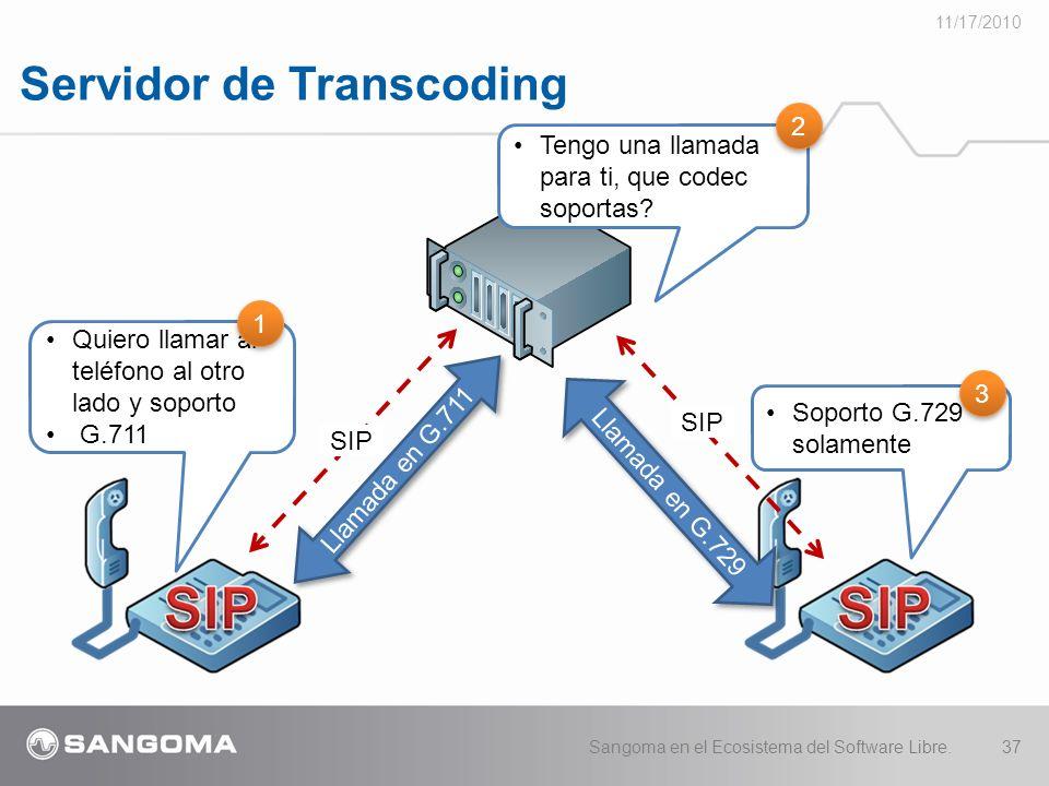 Servidor de Transcoding 11/17/2010 Sangoma en el Ecosistema del Software Libre.37 Llamada en G.711 Quiero llamar al teléfono al otro lado y soporto G.711 SIP Llamada en G.729 1 1 SIP Tengo una llamada para ti, que codec soportas.