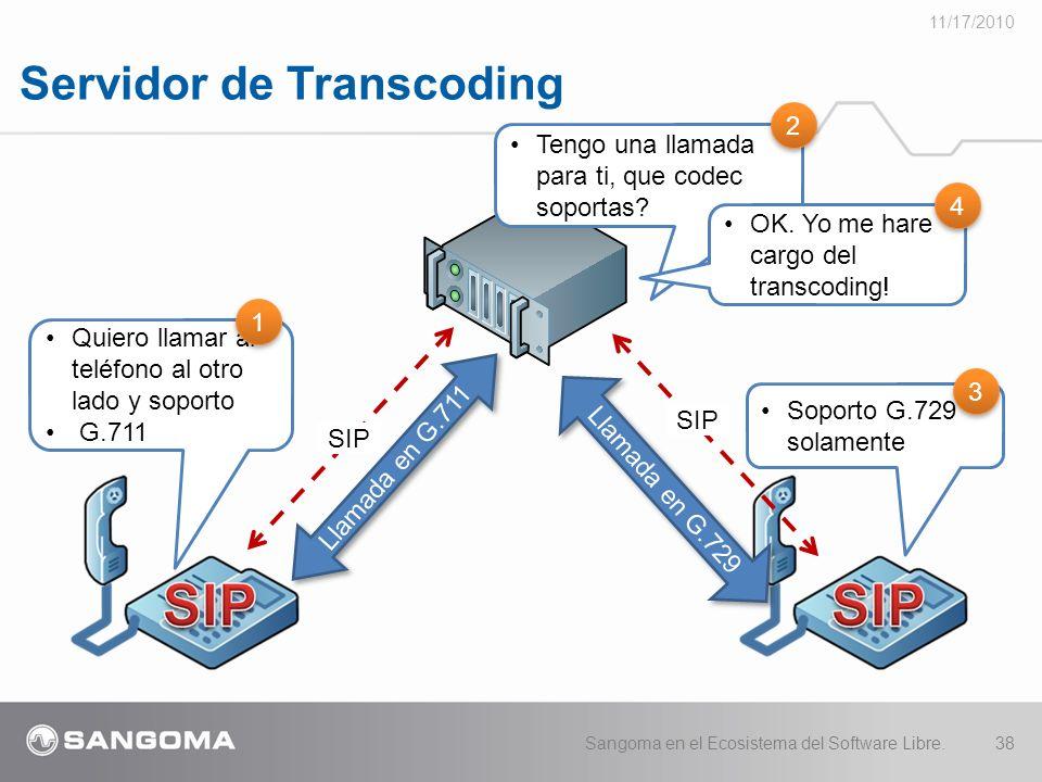 Servidor de Transcoding 11/17/2010 Sangoma en el Ecosistema del Software Libre.38 Llamada en G.711 Quiero llamar al teléfono al otro lado y soporto G.711 SIP Llamada en G.729 1 1 SIP Tengo una llamada para ti, que codec soportas.