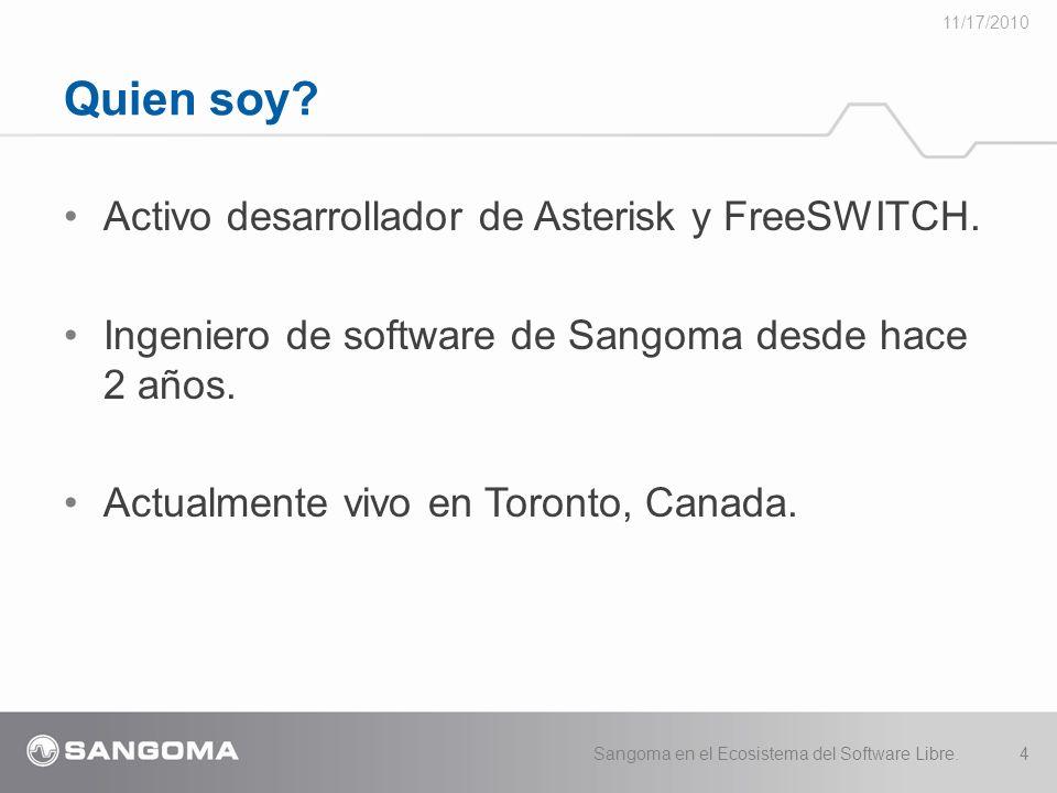 Activo desarrollador de Asterisk y FreeSWITCH.Ingeniero de software de Sangoma desde hace 2 años.