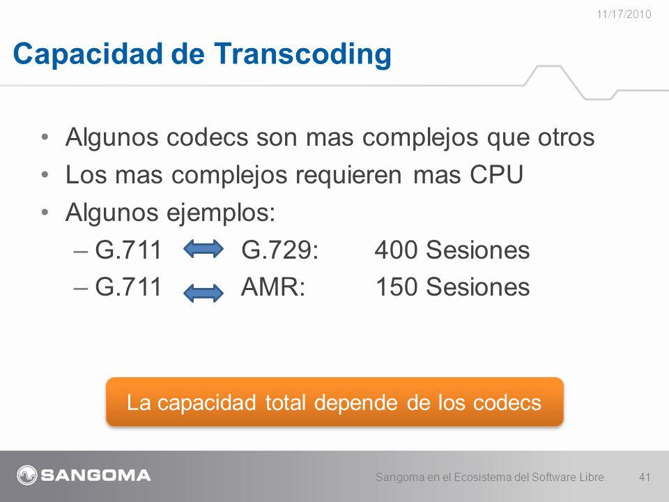 Capacidad de Transcoding 11/17/2010 Sangoma en el Ecosistema del Software Libre.41 Algunos codecs son mas complejos que otros Los mas complejos requieren mas CPU Algunos ejemplos: –G.711 G.729:400 Sesiones –G.711AMR:150 Sesiones La capacidad total depende de los codecs