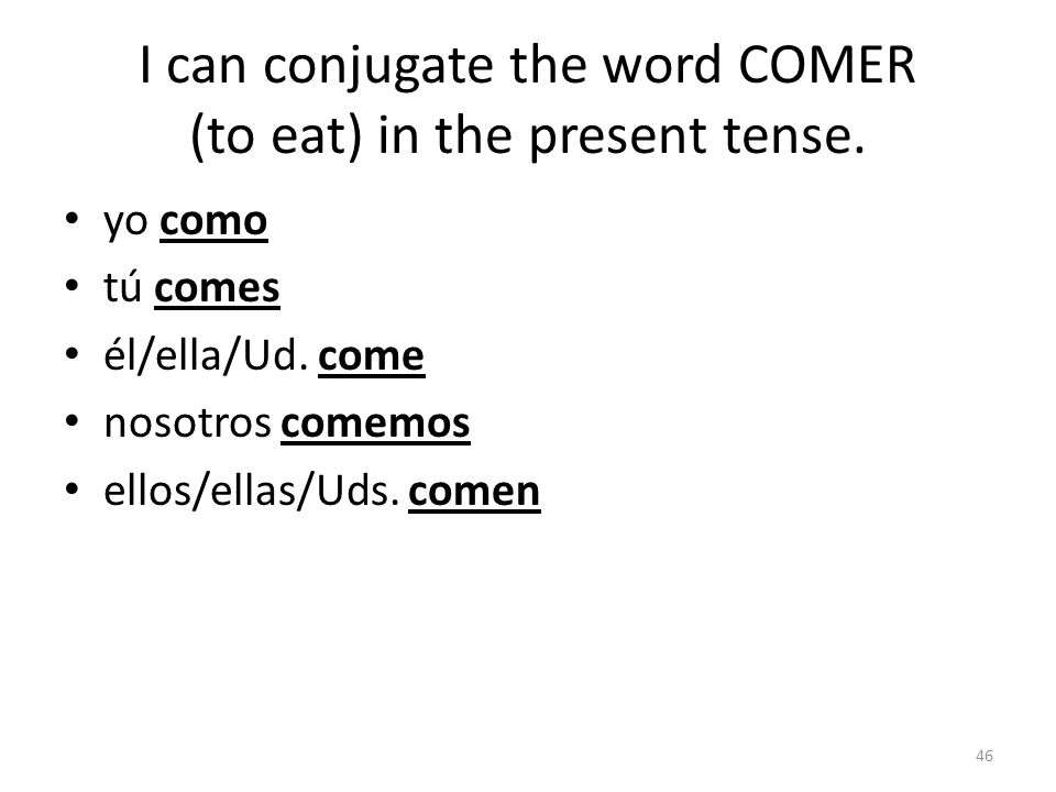 I can conjugate the word MIRAR (to watch)in the present tense.