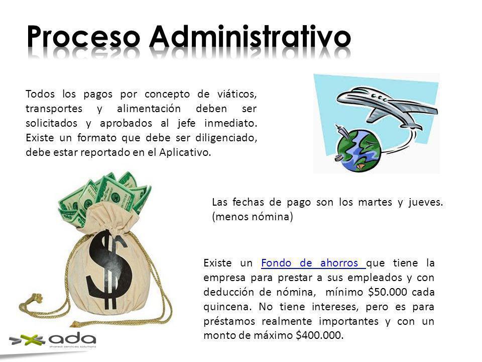 Todos los pagos por concepto de viáticos, transportes y alimentación deben ser solicitados y aprobados al jefe inmediato. Existe un formato que debe s
