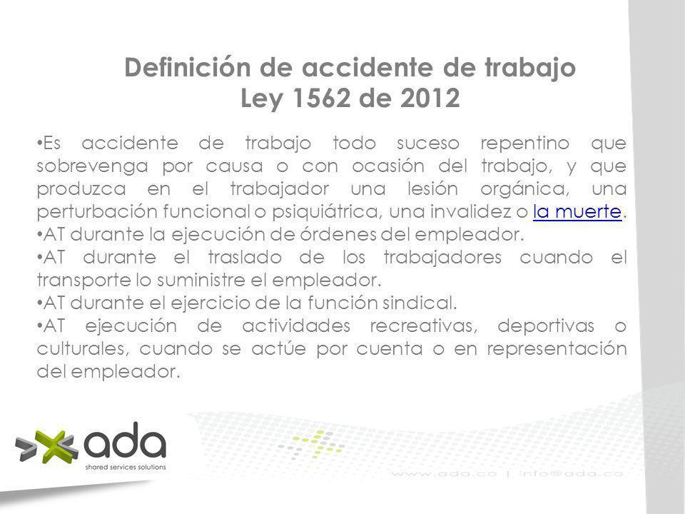Definición de accidente de trabajo Ley 1562 de 2012 Es accidente de trabajo todo suceso repentino que sobrevenga por causa o con ocasión del trabajo,