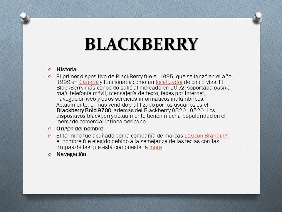 BLACKBERRY TipoTelefonía Fundación1998 SedeWaterlooWaterloo, Ontario, CanadáOntarioCanadá ProductosTeléfonos móviles Sitio webwww.BlackBerry.com