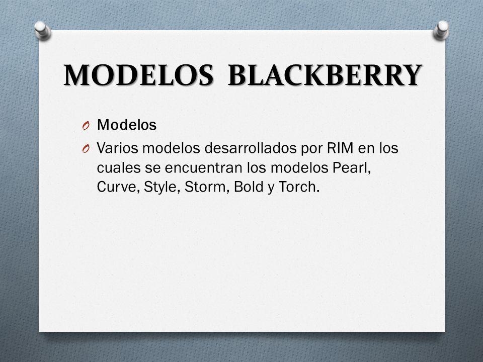MODELOS BLACKBERRY O Modelos O Varios modelos desarrollados por RIM en los cuales se encuentran los modelos Pearl, Curve, Style, Storm, Bold y Torch.