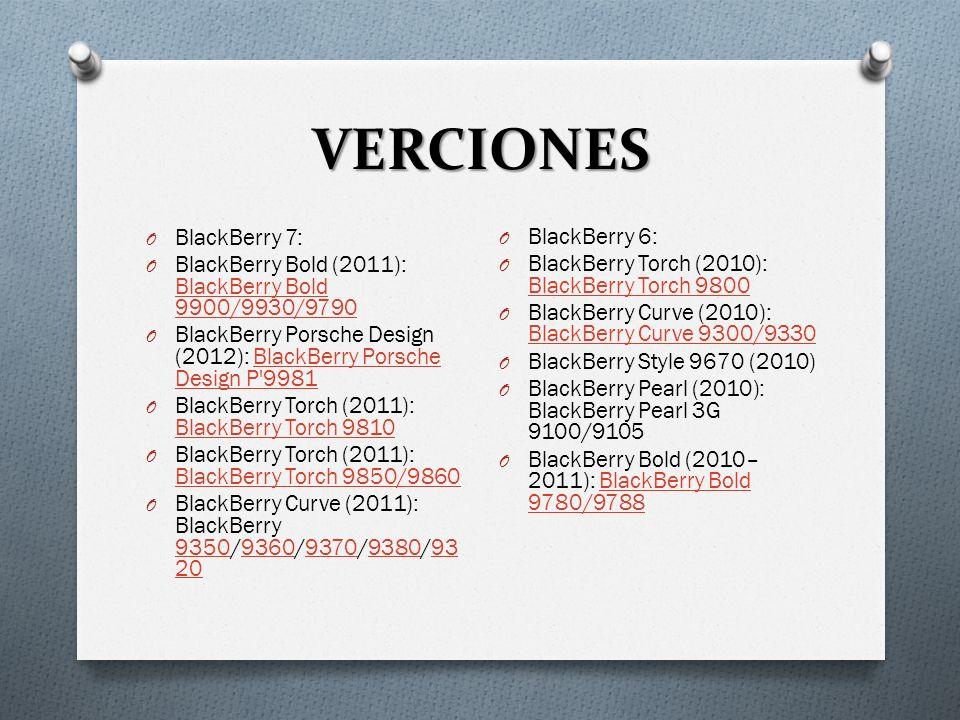 VERCIONES O BlackBerry 5: O BlackBerry Bold (2008–2010): BlackBerry Bold 9000/9700/9650 BlackBerry Bold 9000/9700/9650 O BlackBerry Tour (2009): BlackBerry Tour (9630) BlackBerry Tour O BlackBerry Storm (2009): BlackBerry Storm2 (9520/9550) BlackBerry Storm2 O BlackBerry Storm (2008): BlackBerry Storm (9500/9530) BlackBerry Storm O BlackBerry Curve (2009–2010): BlackBerry Curve 8900 (8900/8910/8980) BlackBerry Curve 8900 O BlackBerry Curve (2009): BlackBerry Curve 8520/8530 BlackBerry Curve 8520/8530 O Blackberry 4 y versiones anteriores: O BlackBerry 8800 (2007): BlackBerry 8800/8820/8830 O BlackBerry Pearl (2006): BlackBerry Pearl 8100/8110/8120/8130BlackBerry Pearl O BlackBerry Pearl Flip (2008): BlackBerry Pearl Flip 8220/8230 BlackBerry Pearl Flip O BlackBerry Curve (2007): Curve 8300 (8300/8310/8320/8330/8350i)Curve 8300 O Primeros modelos: 850, 857, 950, 957950 O Serie Monocromático basado en Java: 5000, 6000 O Serie de Primer color: 7200, 7500, 7700 O Teléfono serie First SureType: 7100