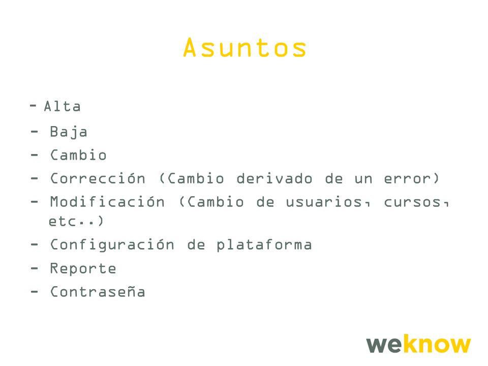 Asuntos - Alta - Baja - Cambio - Corrección (Cambio derivado de un error) - Modificación (Cambio de usuarios, cursos, etc..) - Configuración de plataforma - Reporte - Contraseña