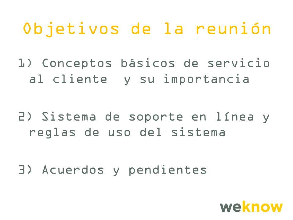 Objetivos de la reunión 1) Conceptos básicos de servicio al cliente y su importancia 2) Sistema de soporte en línea y reglas de uso del sistema 3) Acuerdos y pendientes