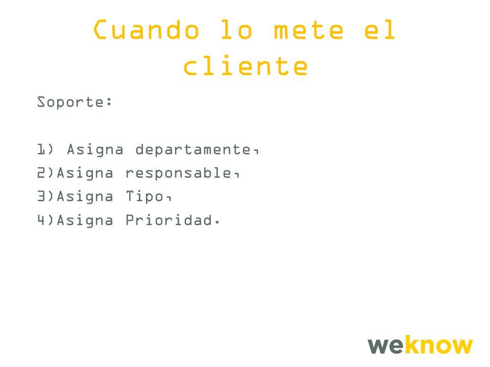 Cuando lo mete el cliente Soporte: 1) Asigna departamente, 2)Asigna responsable, 3)Asigna Tipo, 4)Asigna Prioridad.