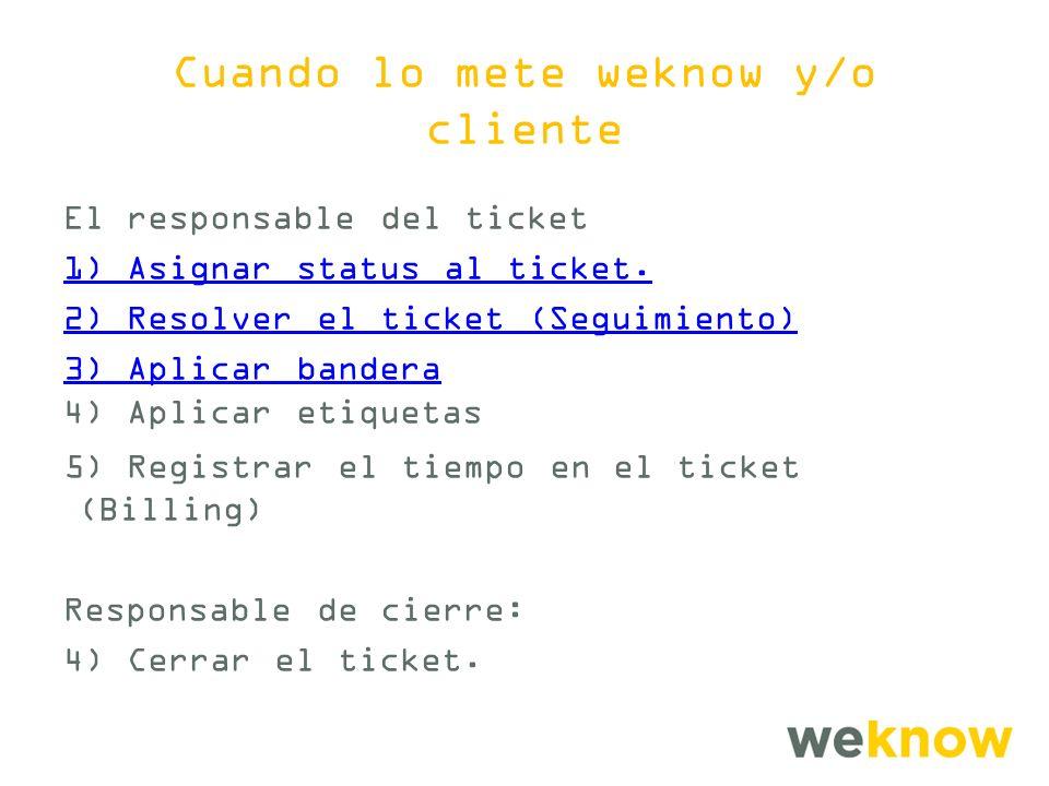 Cuando lo mete weknow y/o cliente El responsable del ticket 1) Asignar status al ticket.
