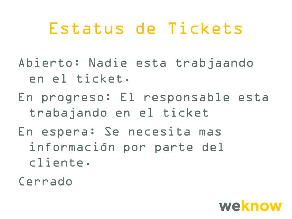 Estatus de Tickets Abierto: Nadie esta trabjaando en el ticket.