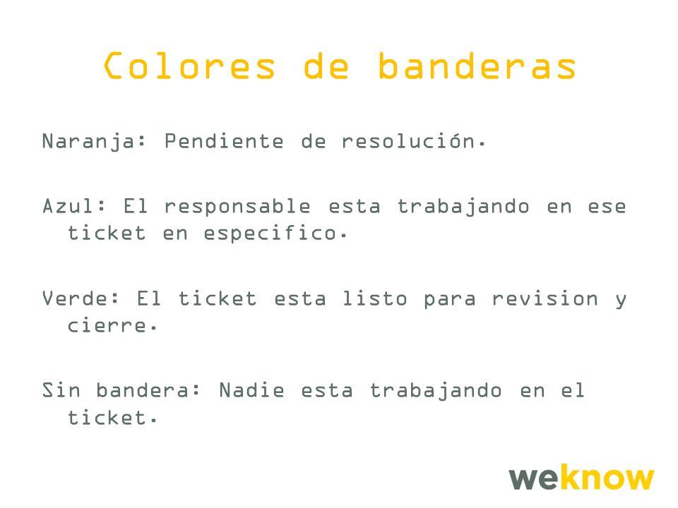 Colores de banderas Naranja: Pendiente de resolución.