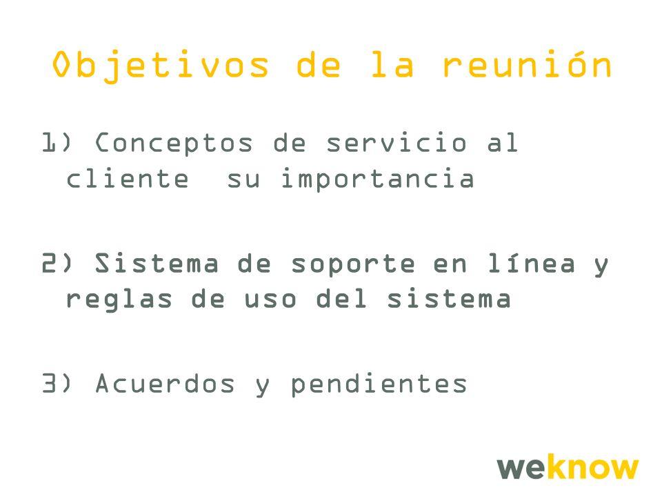 Objetivos de la reunión 1) Conceptos de servicio al cliente su importancia 2) Sistema de soporte en línea y reglas de uso del sistema 3) Acuerdos y pendientes