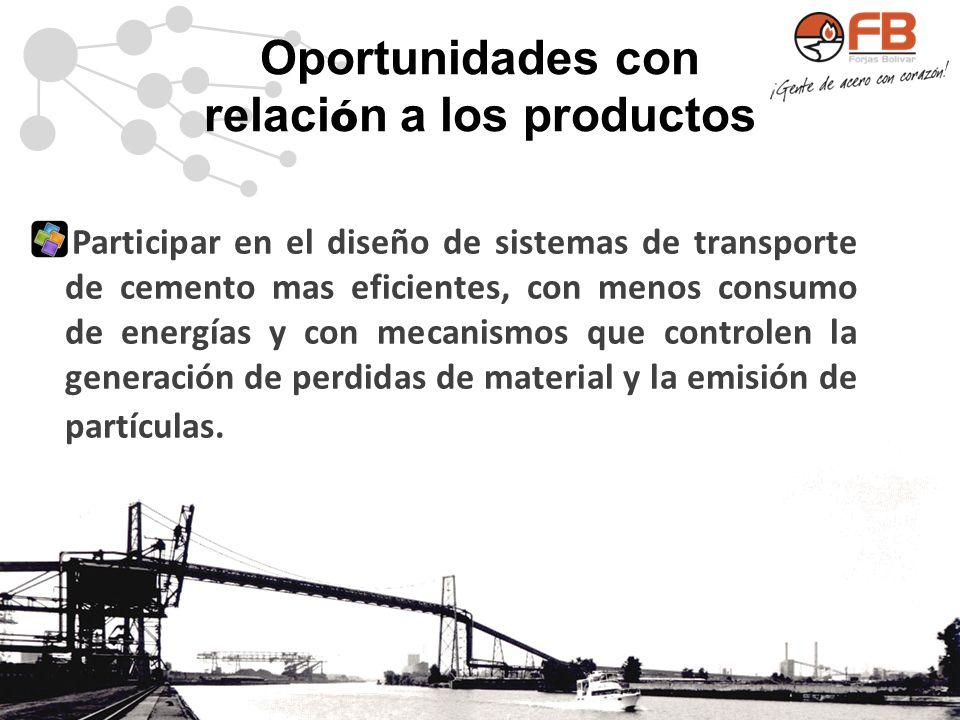 Oportunidades con relaci ó n a los productos Participar en el diseño de sistemas de transporte de cemento mas eficientes, con menos consumo de energía