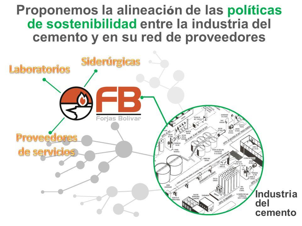 Industria del cemento Proponemos la alineaci ó n de las pol í ticas de sostenibilidad entre la industria del cemento y en su red de proveedores